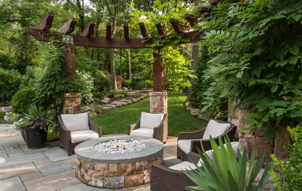 Landscape design, pergola, firepit, outdoor patio in Northern VA, MD, DC